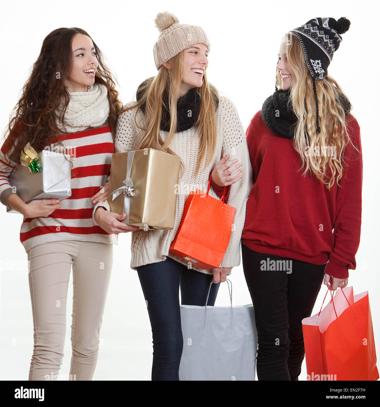 teens with party gifts or presents, - Stock Image