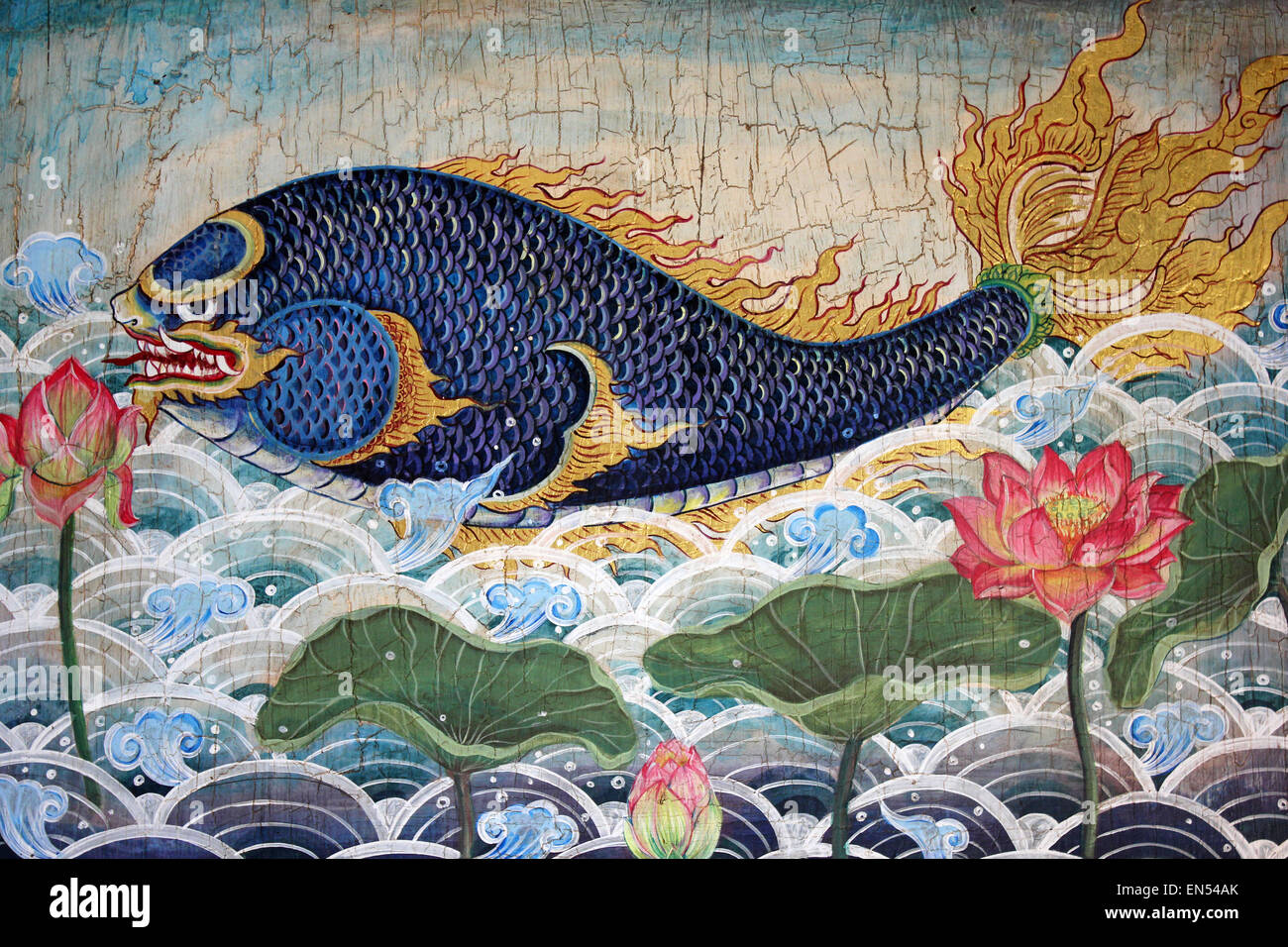 Mythical Fish From The Thai Himmavanta - Stock Image