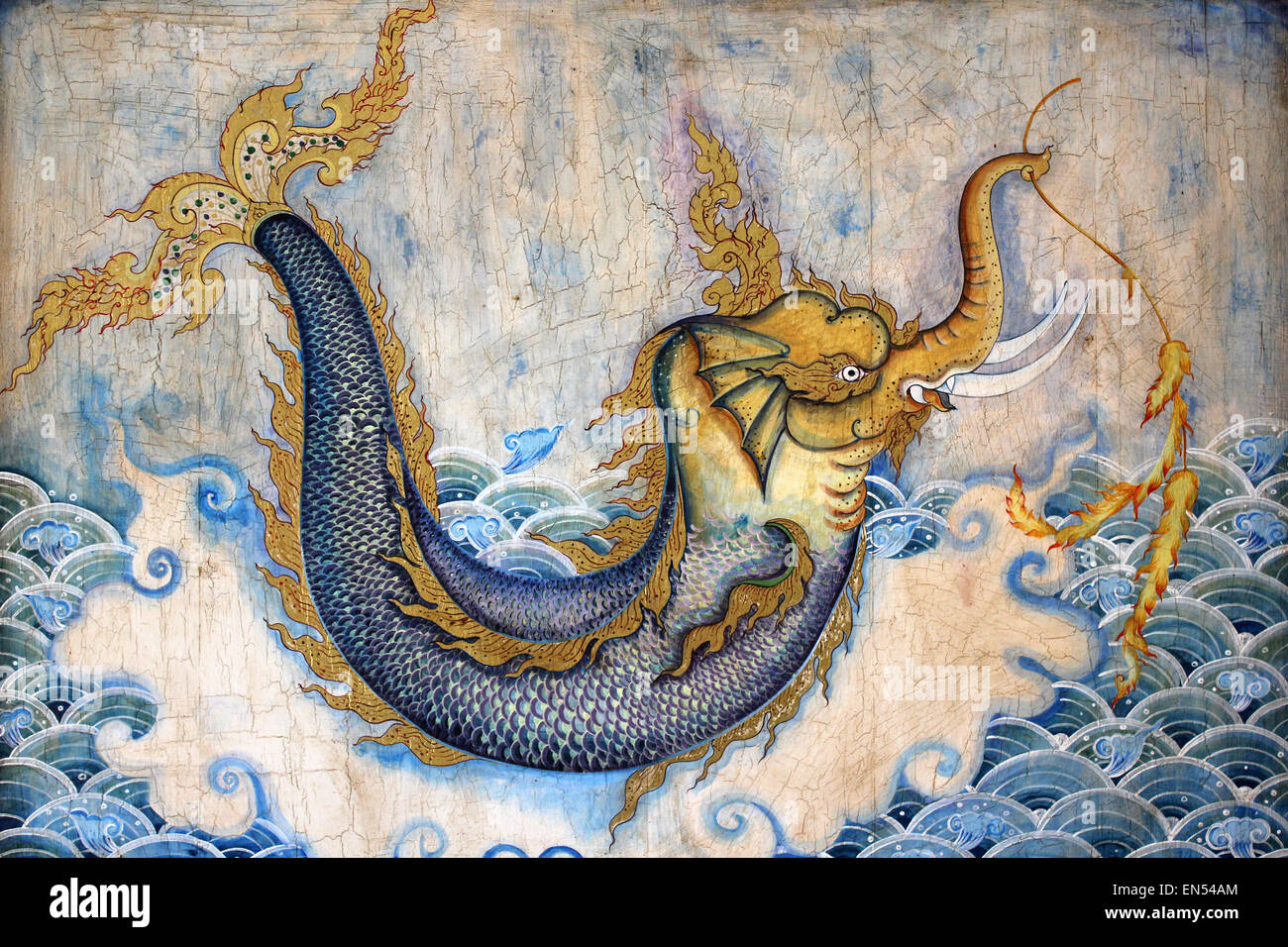 Waree Kunchorn A Thai Mythical creature With A head Of An Elephant And A Tail Of A Fish - Stock Image