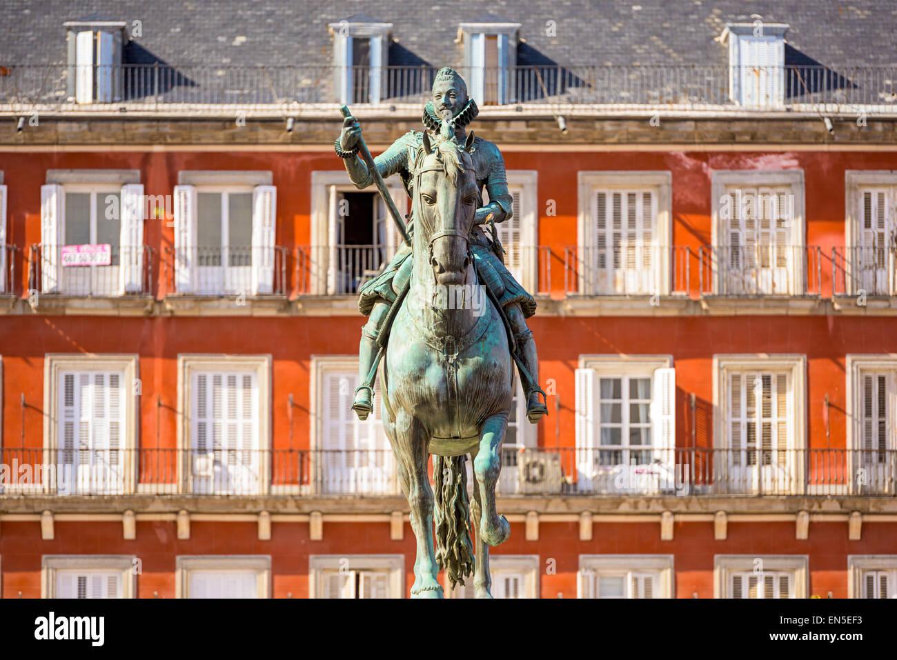 Madrid, Spain monument in Plaza de Espana. - Stock Image