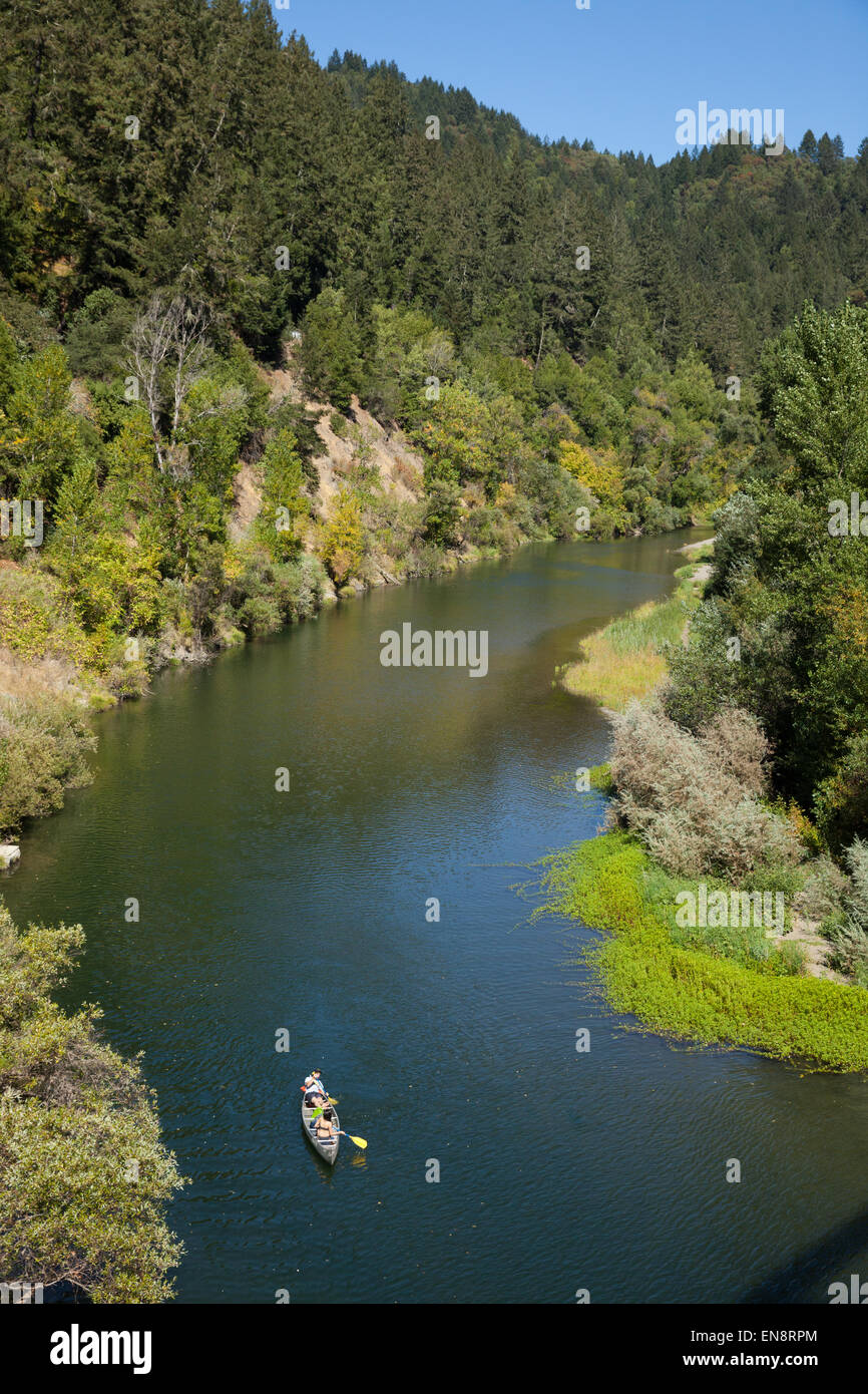 People in a canoe, photographed from above on the Russian River near Guernville in Northern California. - Stock Image