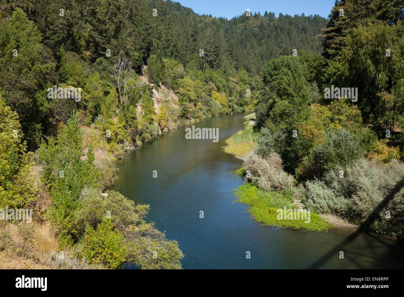 The Russian River seen from a bridge near Guernville in Northern California. - Stock Image