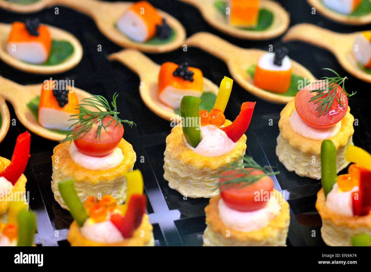 Appetizers, Vol-au-vent in a Food Exhibition Stock Photo