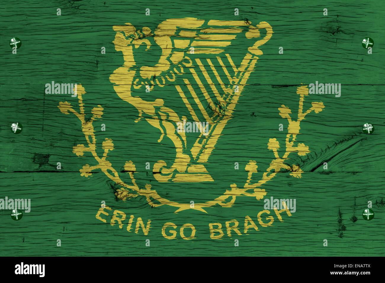 Erin go bragh irish ireland flag painting is colorful on wood of erin go bragh irish ireland flag painting is colorful on wood of old train carriage fastened by screws or bolts m4hsunfo