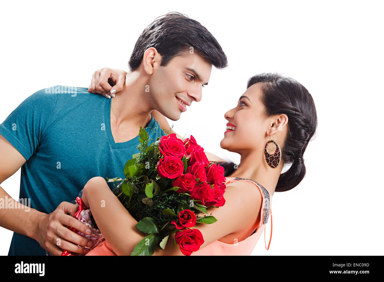 2 Indian Married Couples Rose Bouquet Surprise Valentine Day Stock