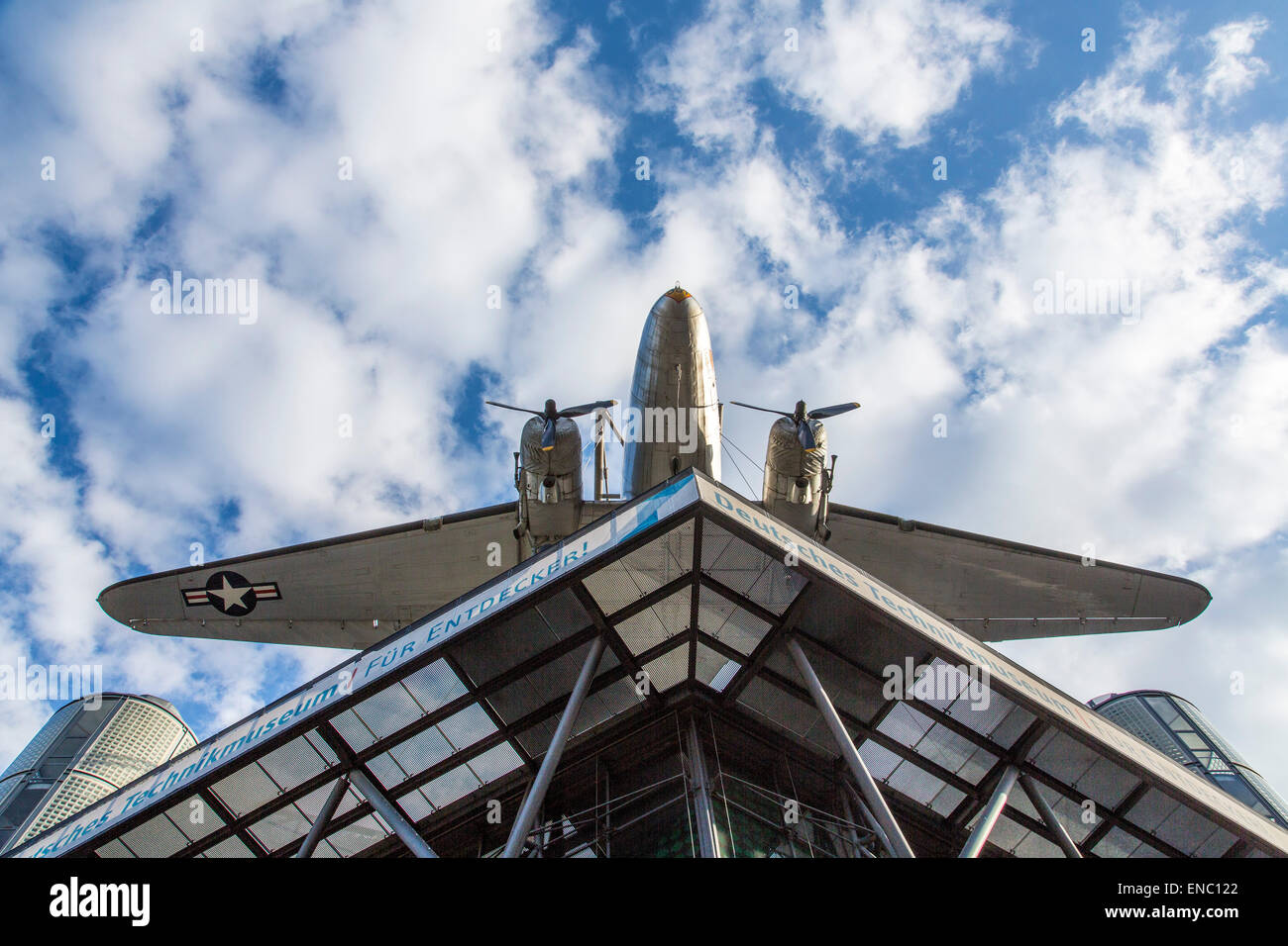 Facade of the German Museum of Technology, DC-3 aircraft, Berlin, - Stock Image