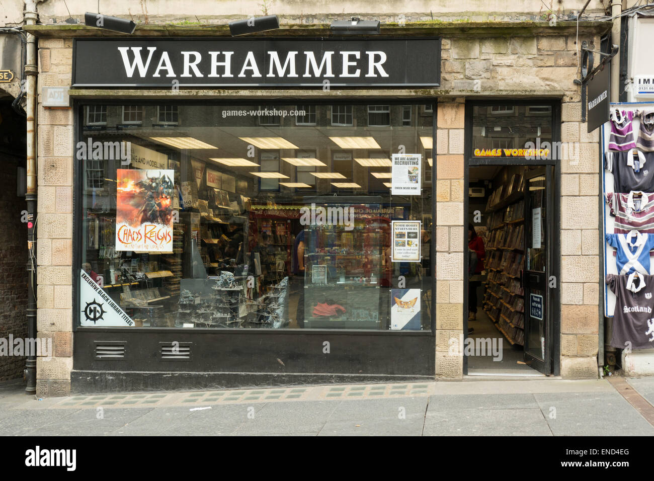 Warhammer Games Workshop shop on the Royal Mile, Edinburgh, Scotland - Stock Image