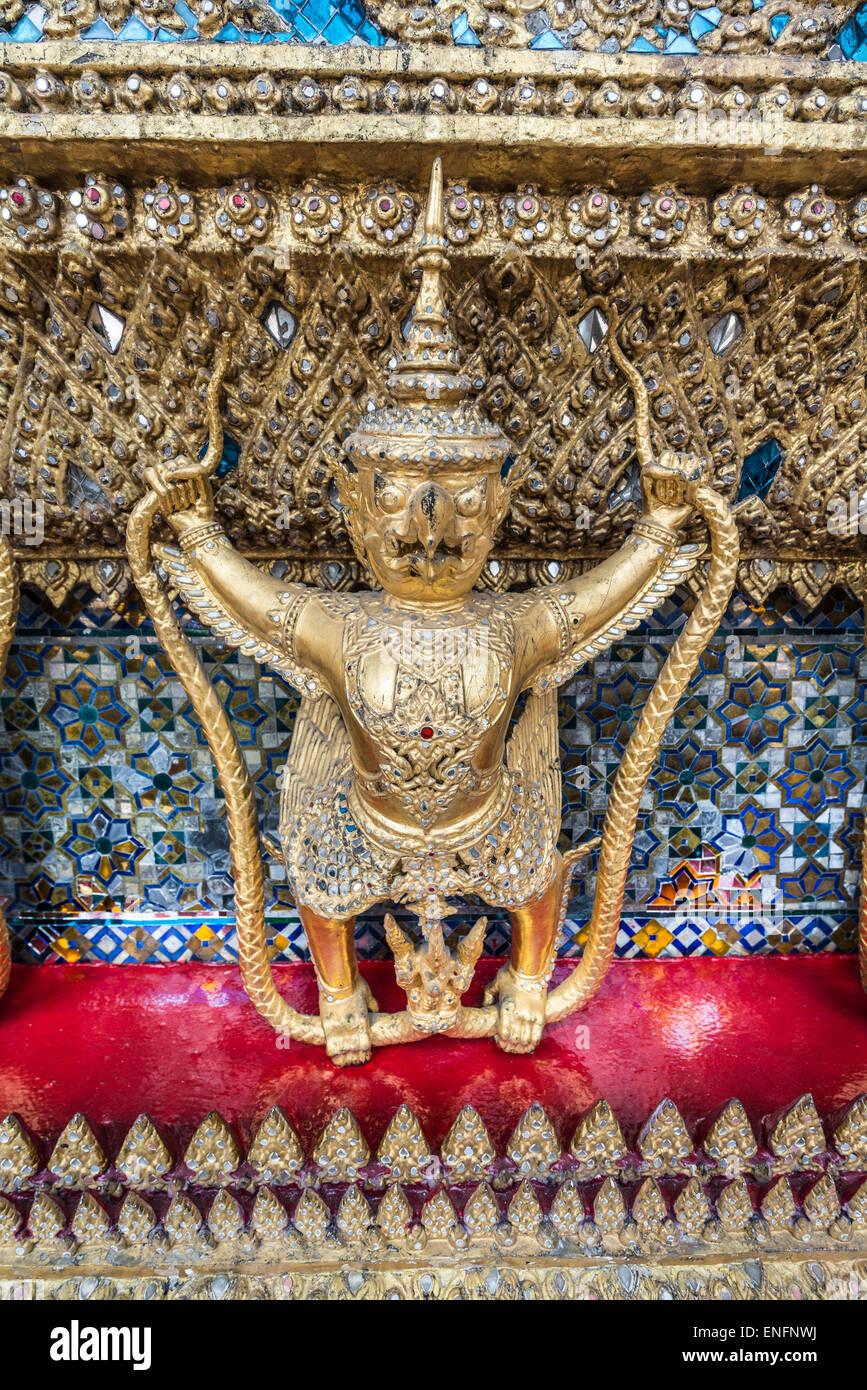 Gilded Garuda, birdlike mythical creatures, Wat Phra Kaeo Temple, Royal Palace, Bangkok, Central Thailand, Thailand - Stock Image