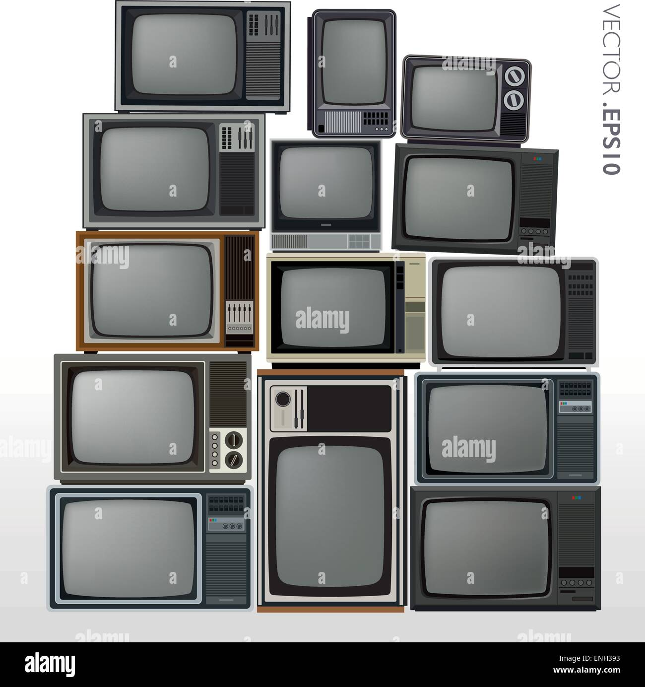 vector set of stacked retro and vintage televisions stock vector art