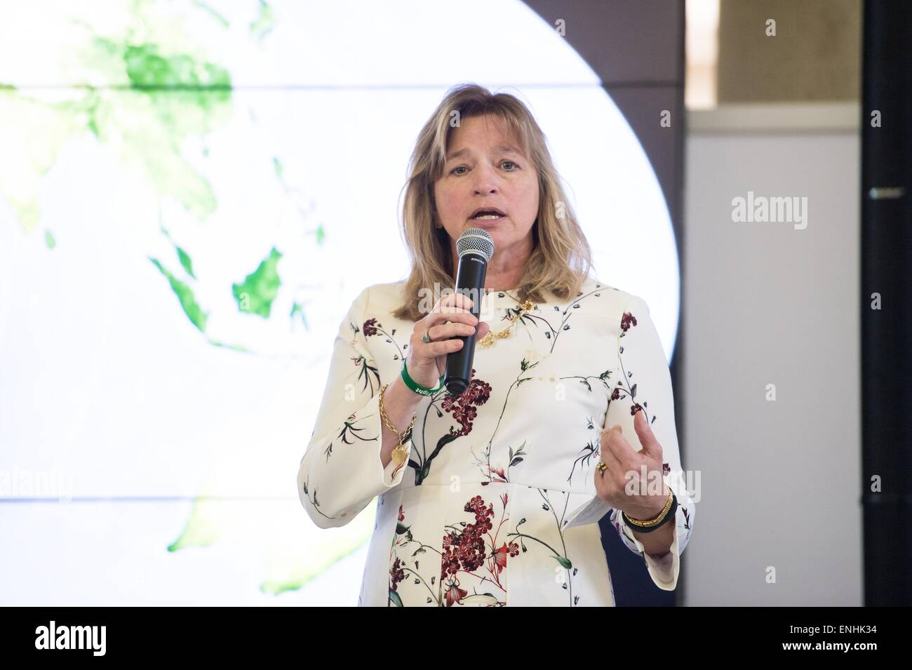 Dr. Ellen Stofan, chief scientist, at NASA speaks during an Earth Day event at Union Station April 22, 2015 in Washington, - Stock Image