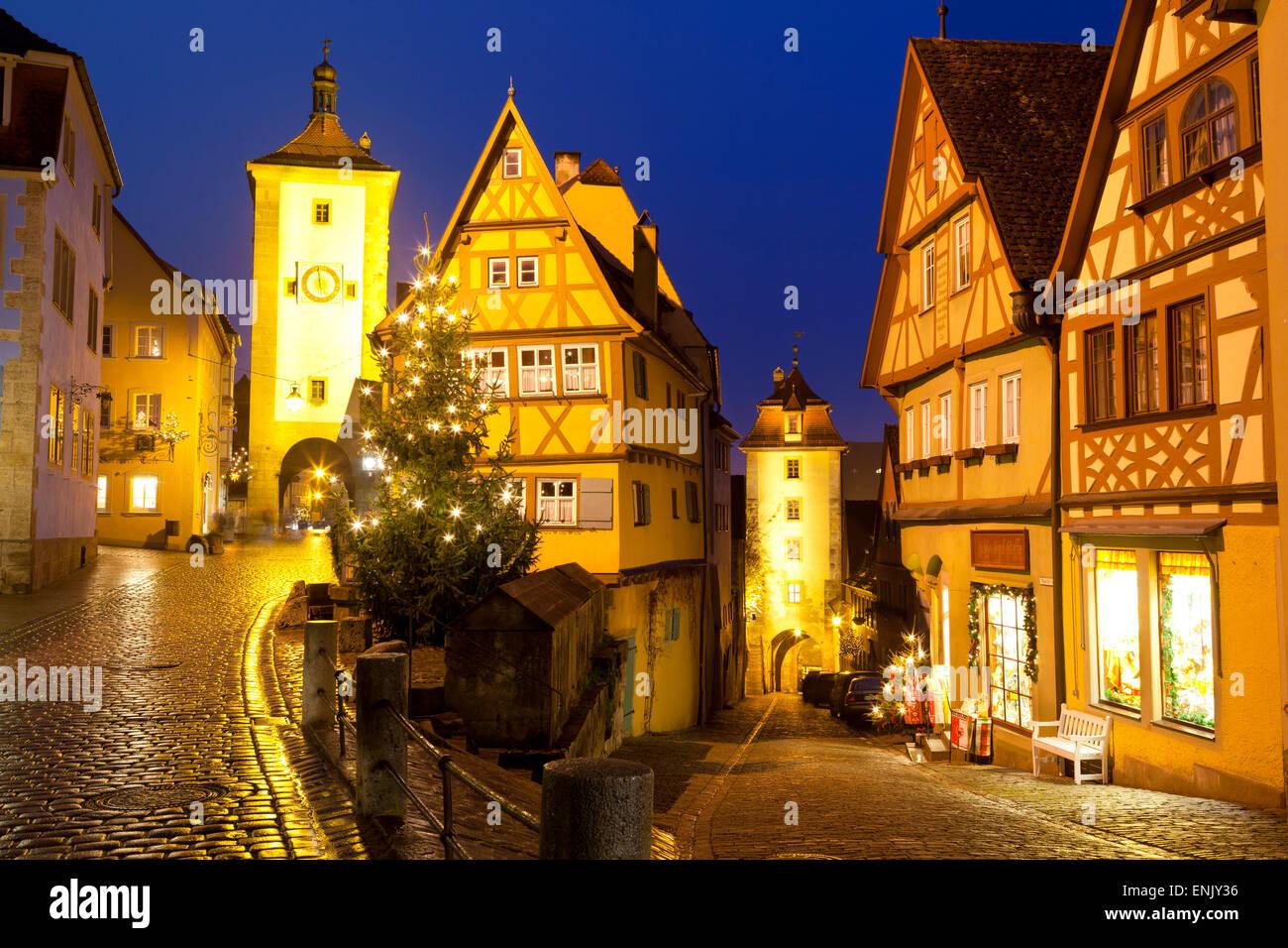 Christmas Tree at the Plonlein, Rothenburg ob der Tauber, Bavaria, Germany, Europe - Stock Image