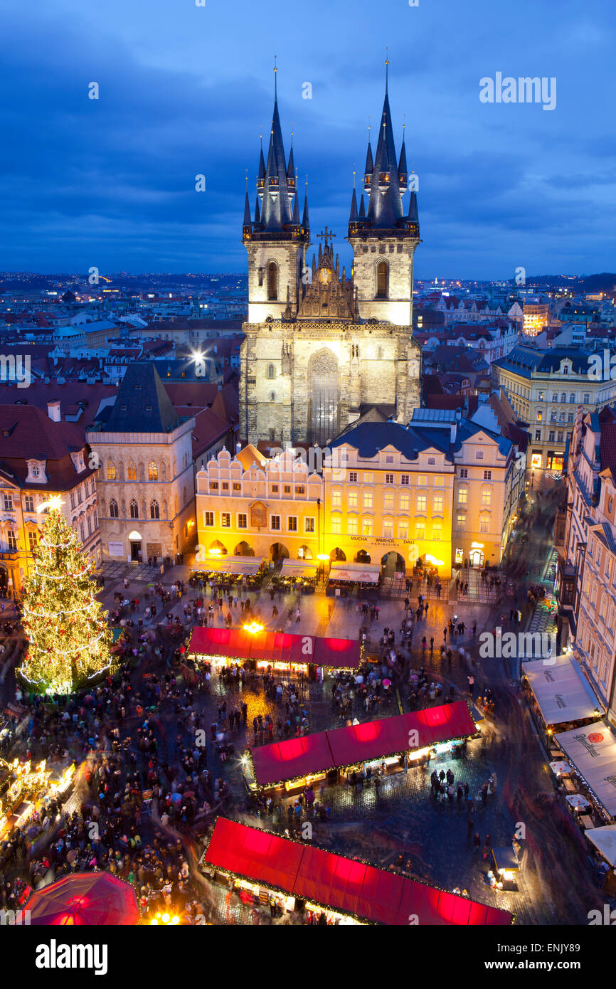 Overview of the Christmas Market and the Church of Our Lady of Tyn on the Old Town Square, UNESCO, Prague, Czech - Stock Image