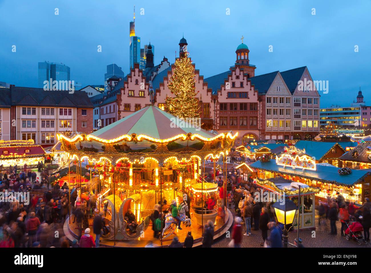 Christmas Market in Romerberg, Frankfurt, Germany, Europe - Stock Image