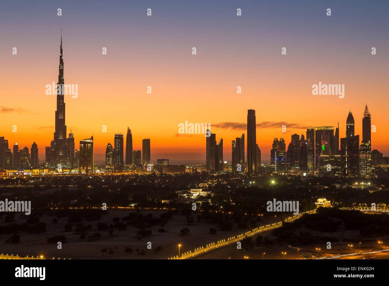 Dubai skyline, the Burj Khalifa, modern architecture and skyscrapers on Sheikh Zayed Road, Dubai, United Arab Emirates - Stock Image