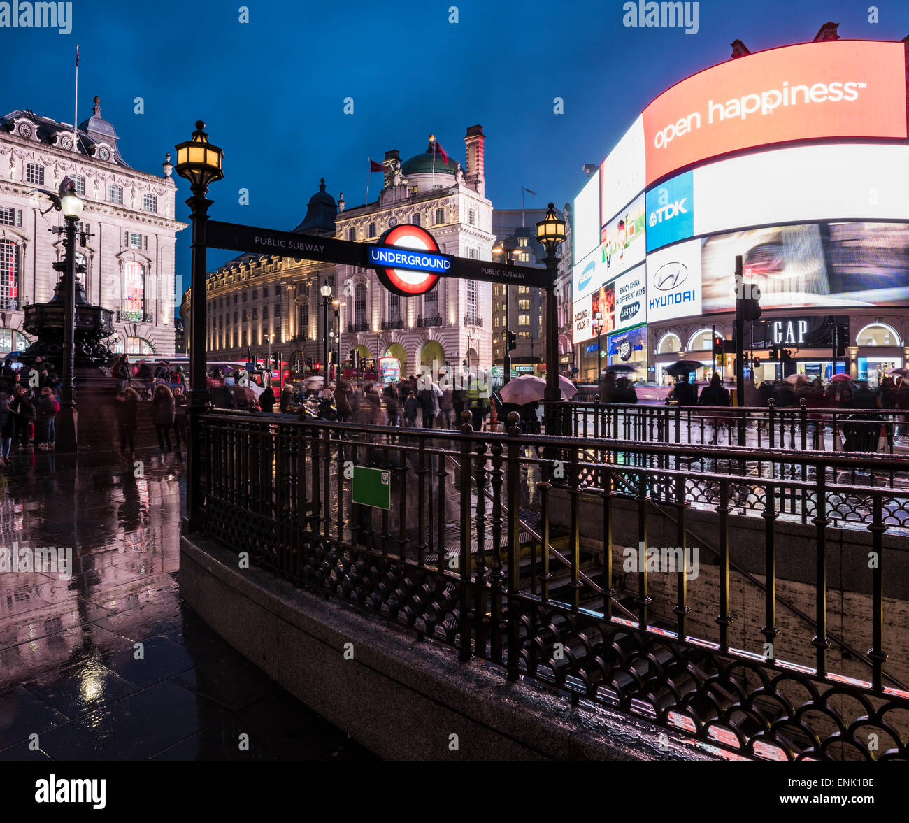 Piccadily Circus at night, London, England, United Kingdom, Europe - Stock Image