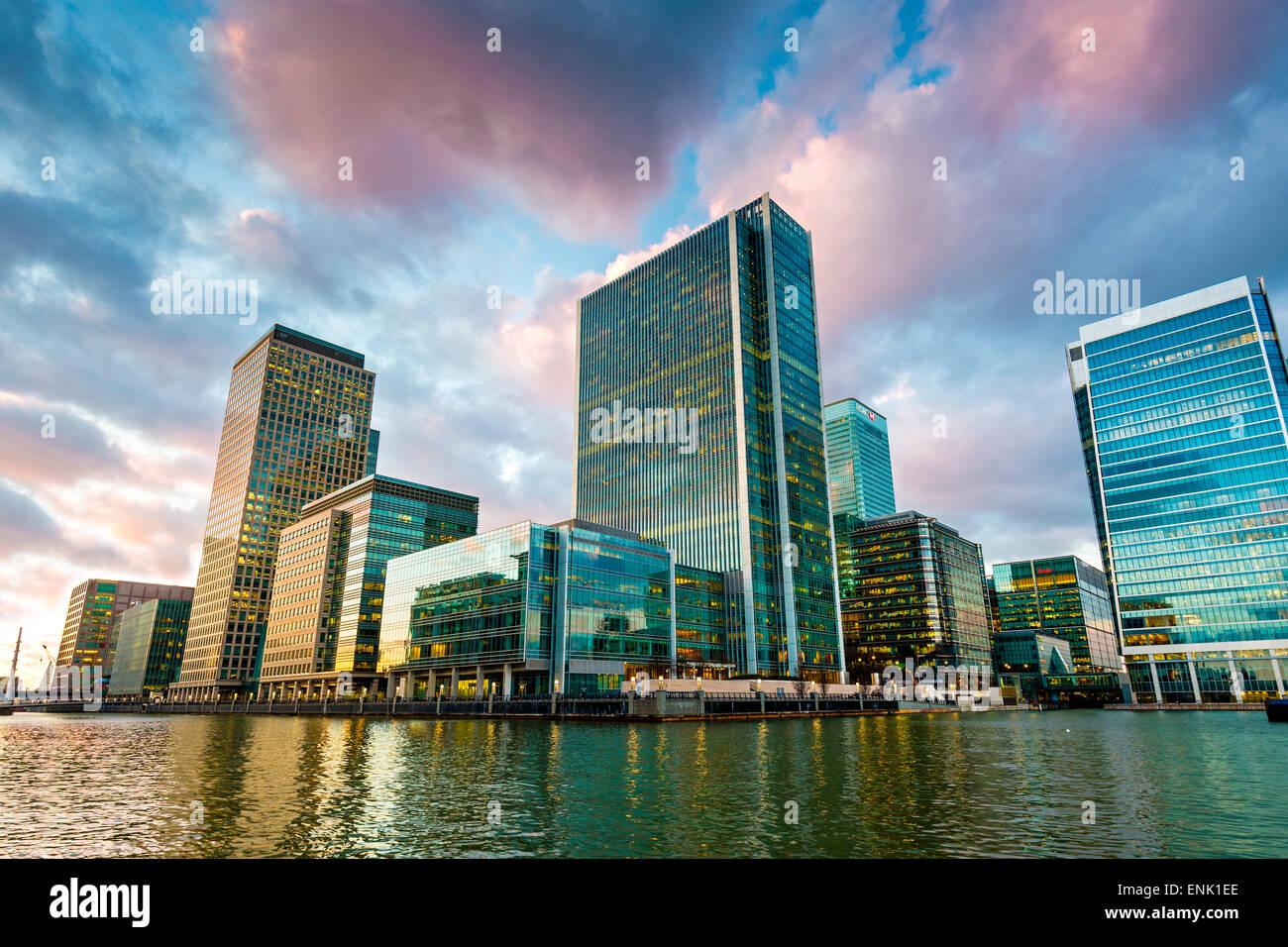 Canary Wharf at dusk, Docklands, London, England, United Kingdom, Europe - Stock Image