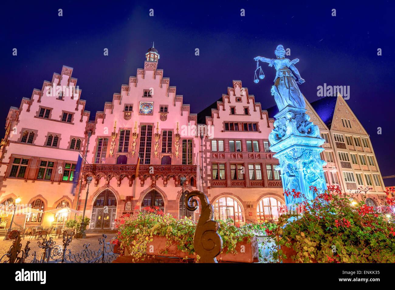 Frankfurt, German old city square. - Stock Image
