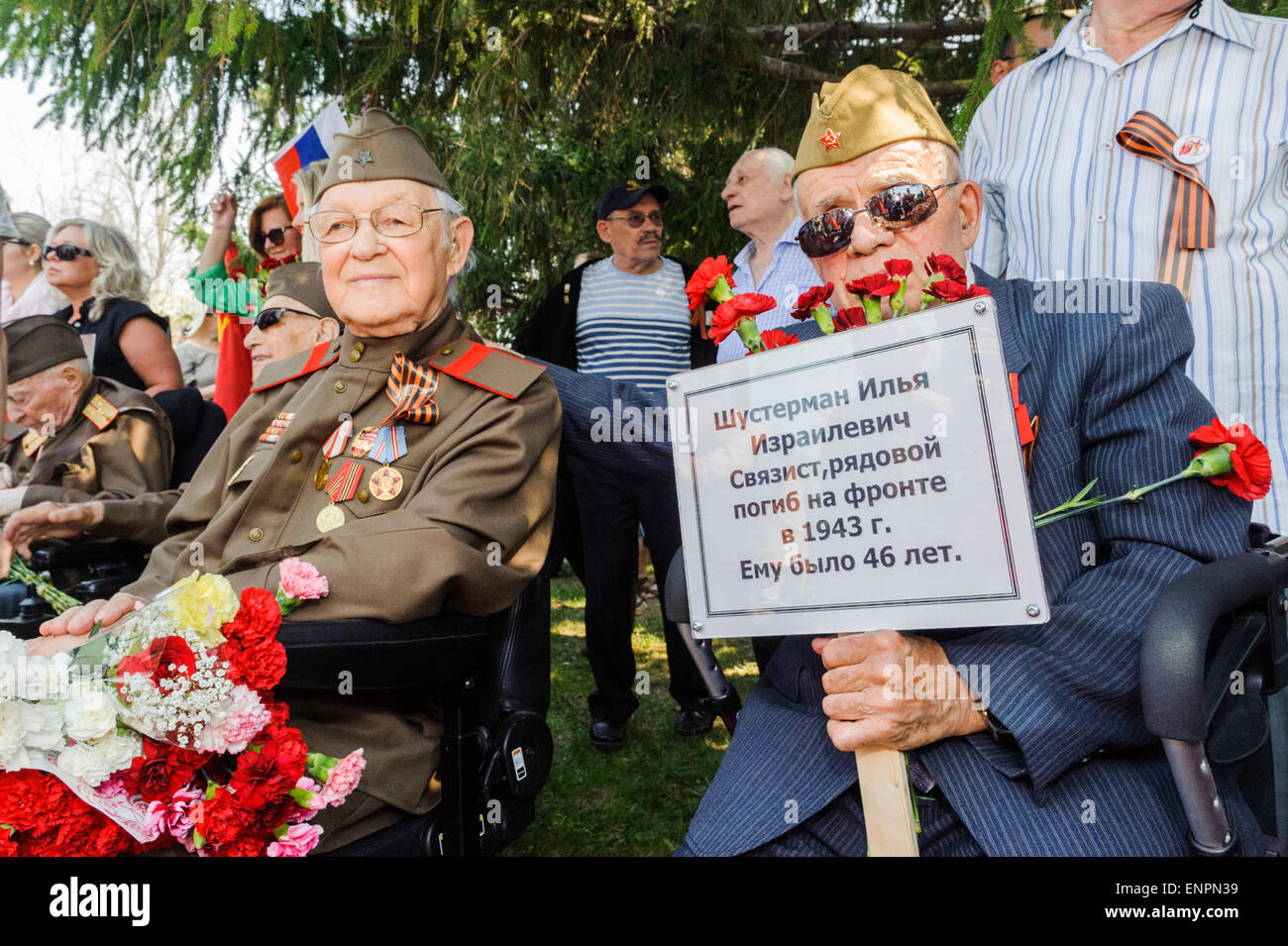 Toronto, Canada. 9th May 2015. Veterans of World War II, during Ceremonial Parade for 70 years anniversary of Victory - Stock Image