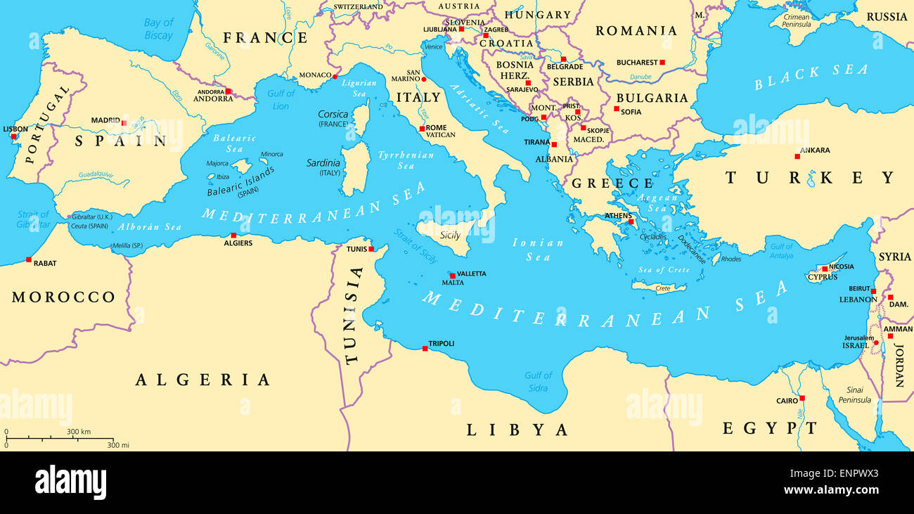 Mediterranean Region Map Mediterranean Sea Region Political Map Stock Photo: 82252523   Alamy Mediterranean Region Map