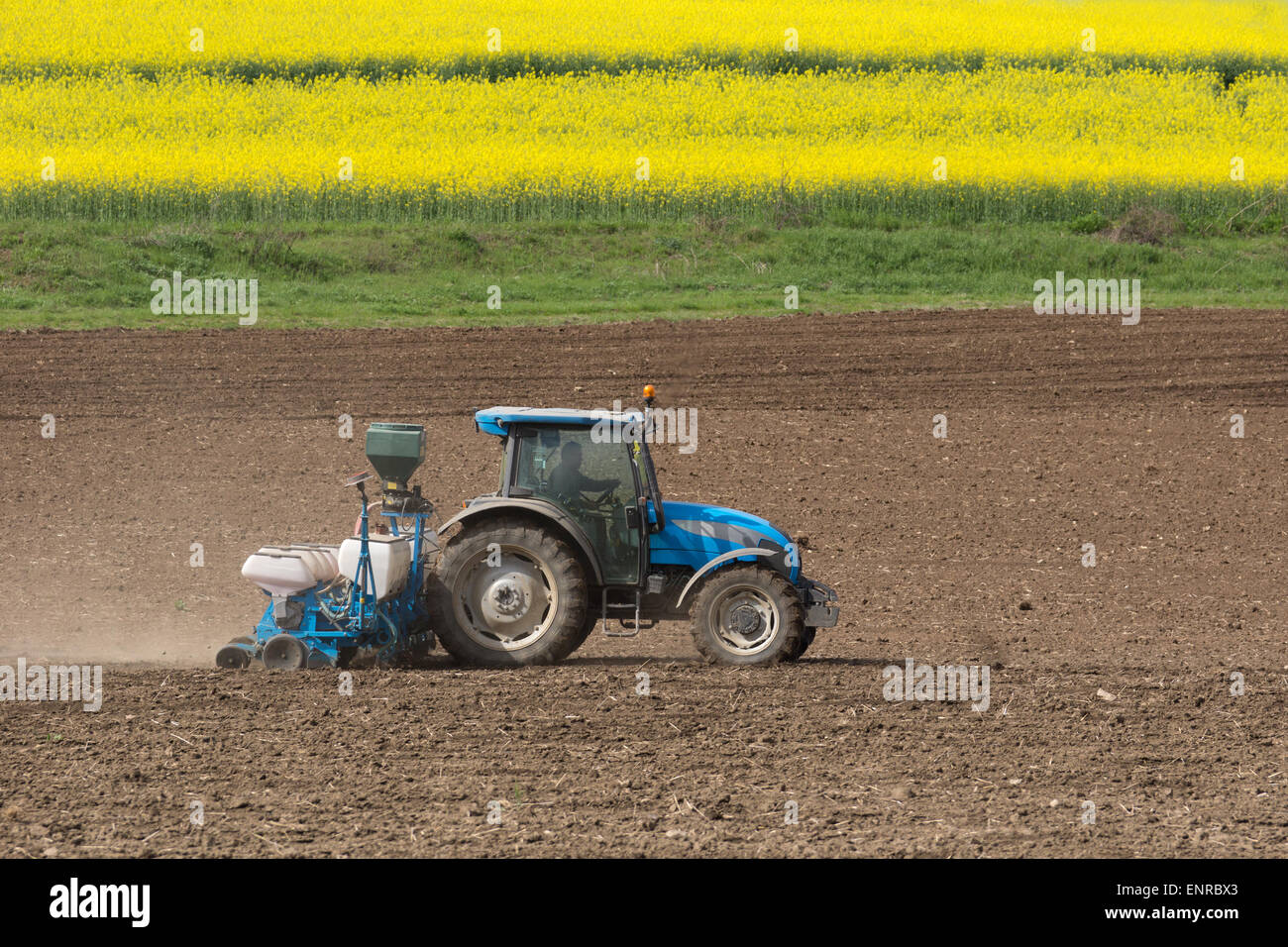 Farming a field with a tractor - Stock Image