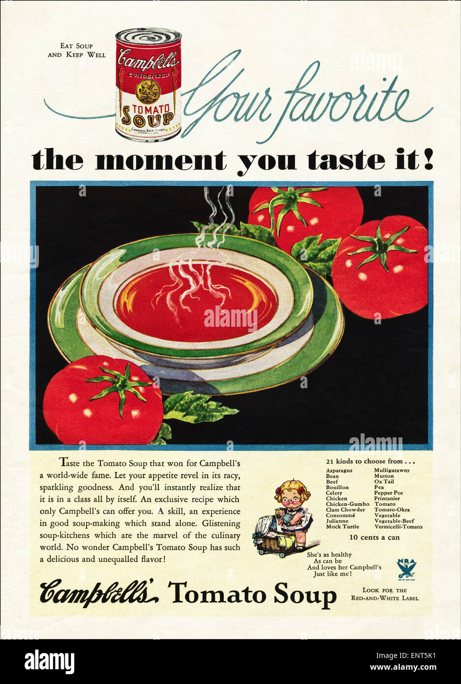 Vintage advert in 1930s American magazine dated November 1933 for CAMPBELLS TOMATO SOUP Stock Photo