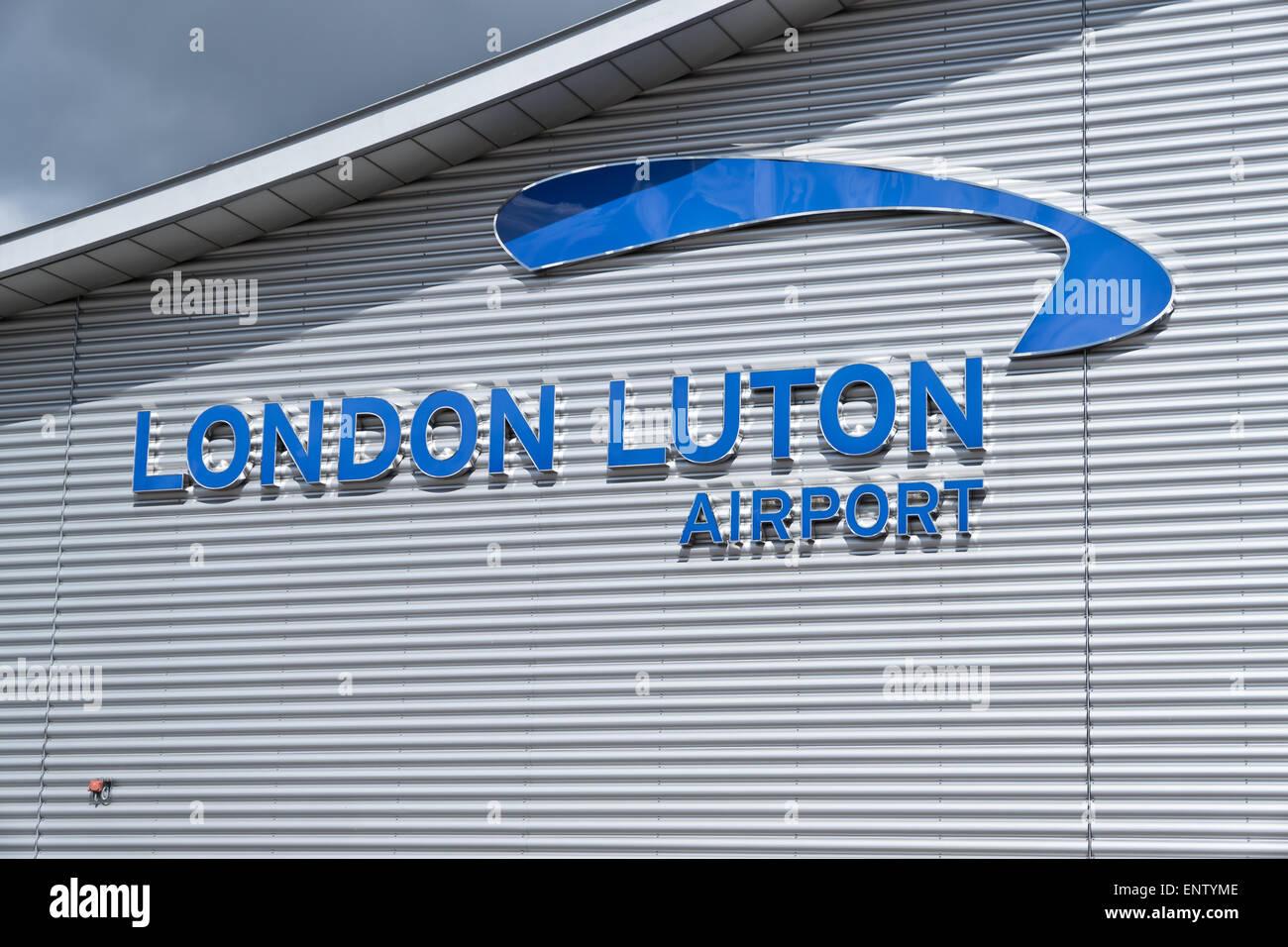 London Luton airport sign Stock Photo