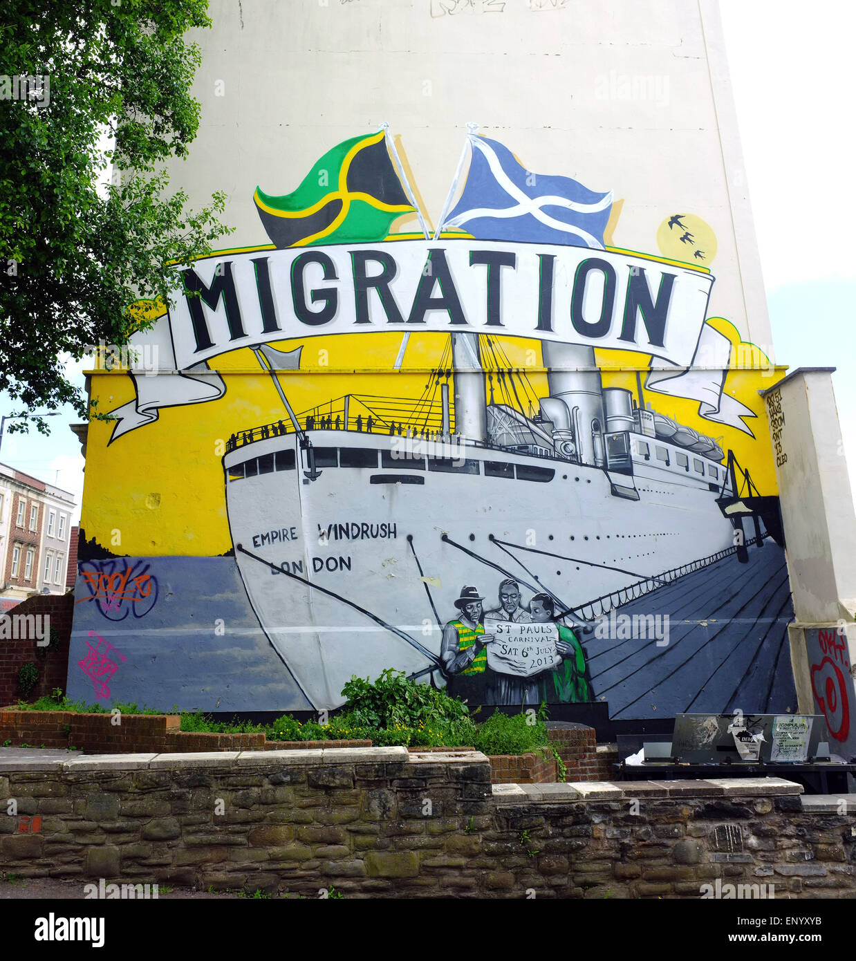 A wall painting in the St Paul's area in Bristol. Stock Photo