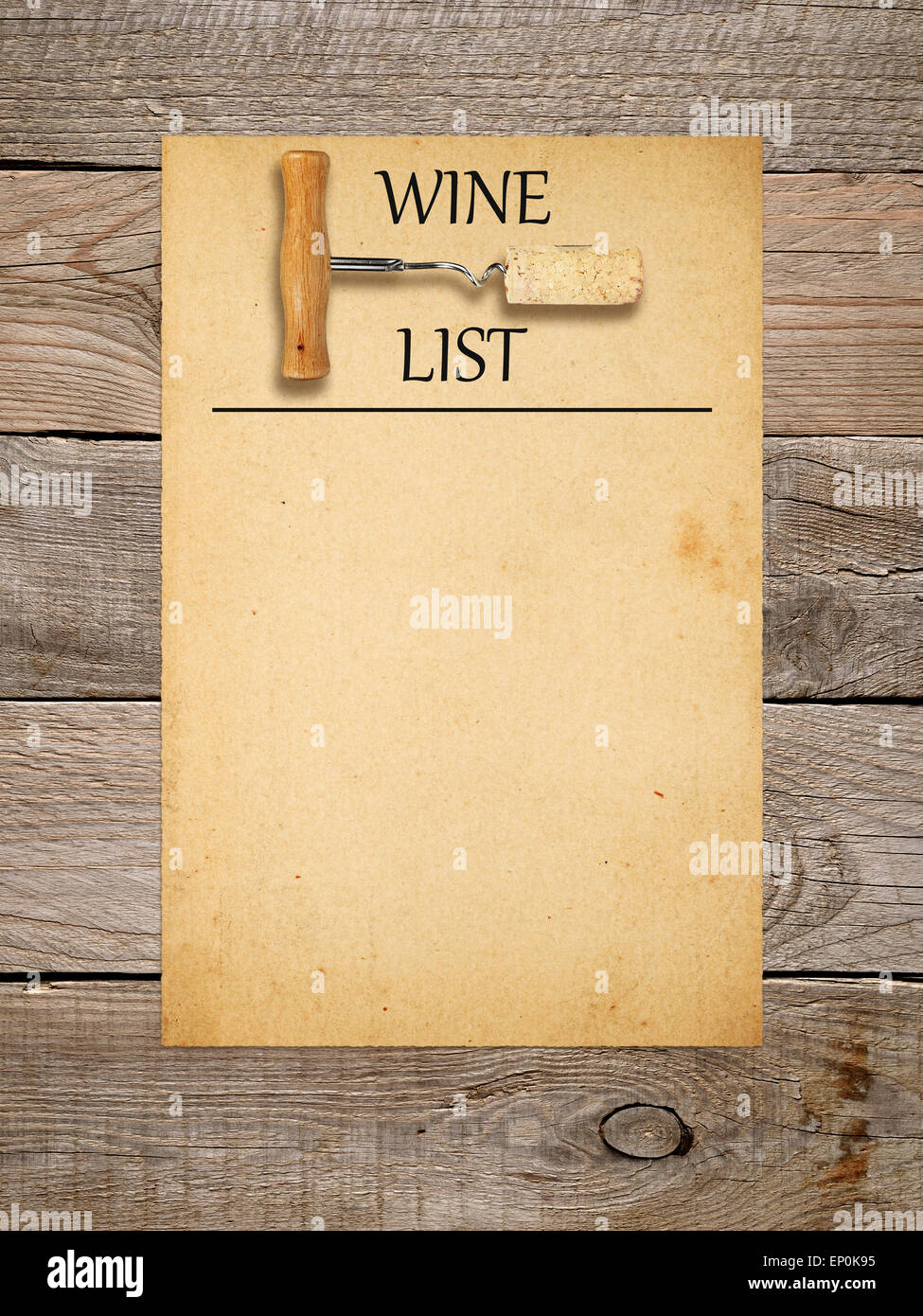 wine list design - corkscrew with cork and old paper on wooden stock