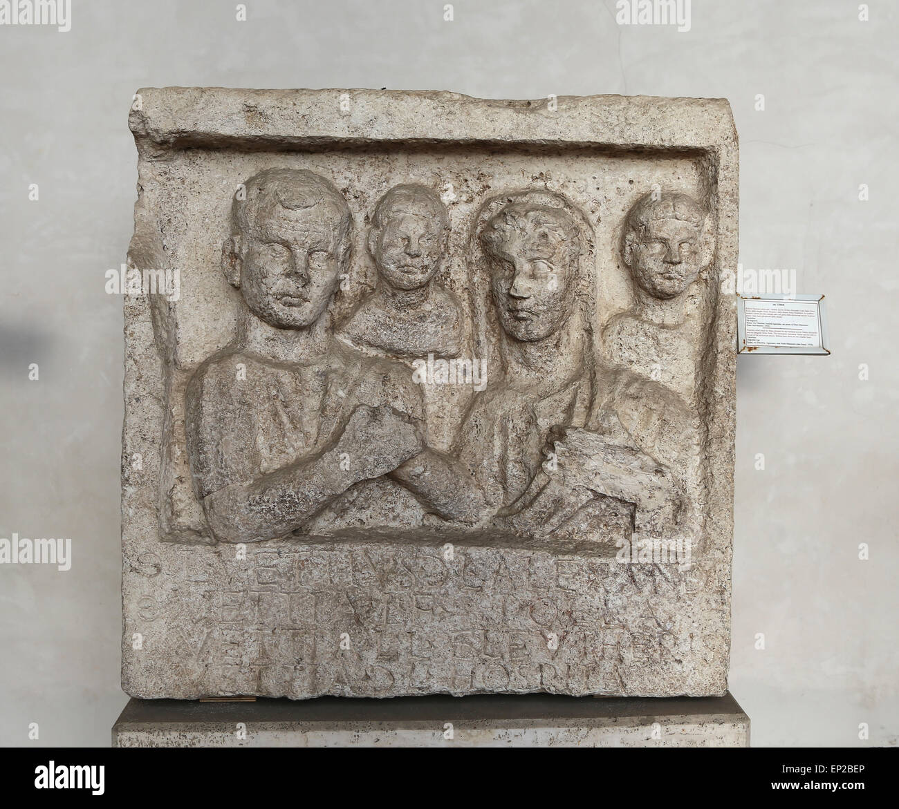 Funerary relief. Vettius and his wife in the act the dextrarum iunctio with 2 smaller busts. Augustan Age. Rome. - Stock Image