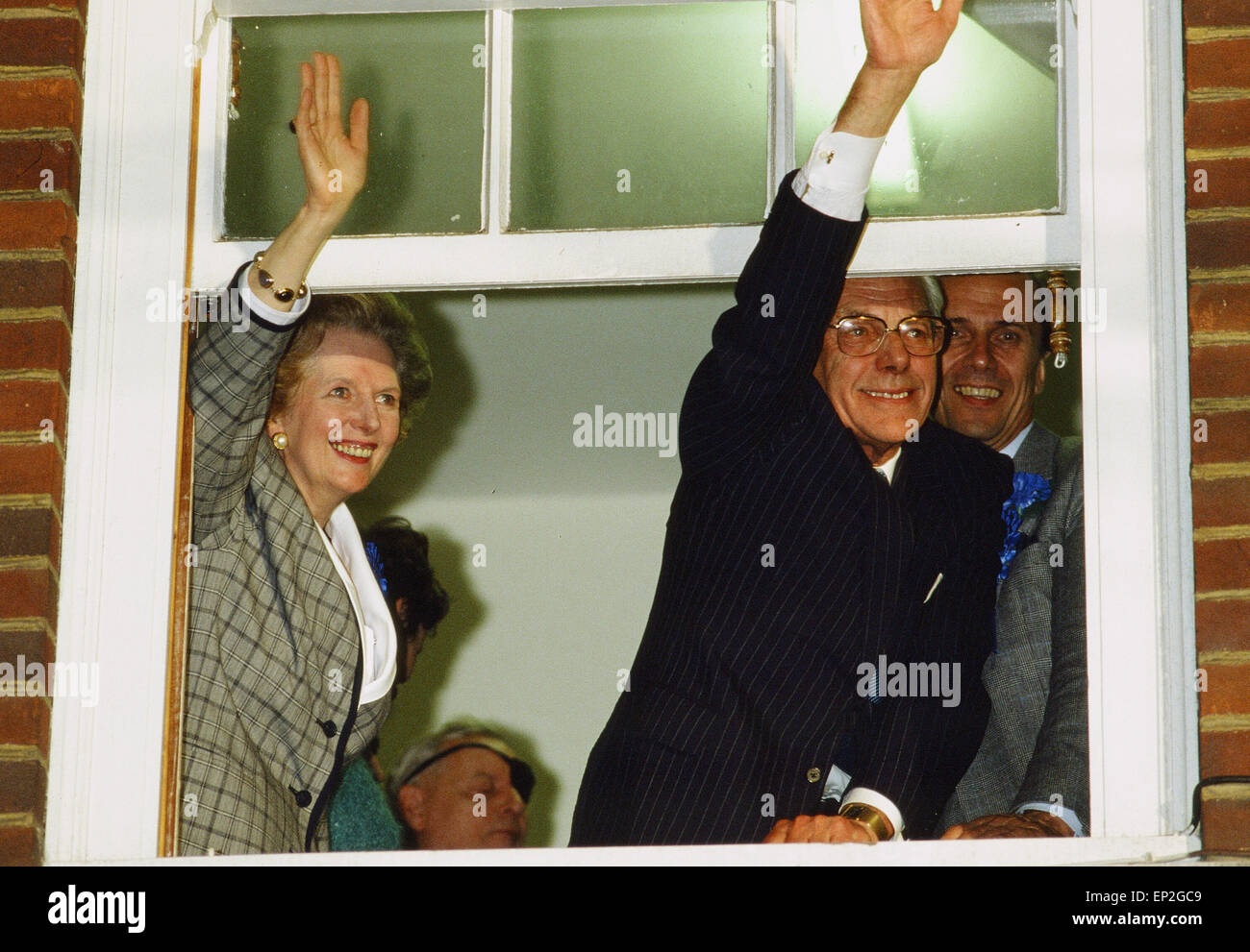 Margaret Thatcher PM and husband Denis Thatcher celebrate after winning 1987 General Election, 10 Downing Street, Stock Photo