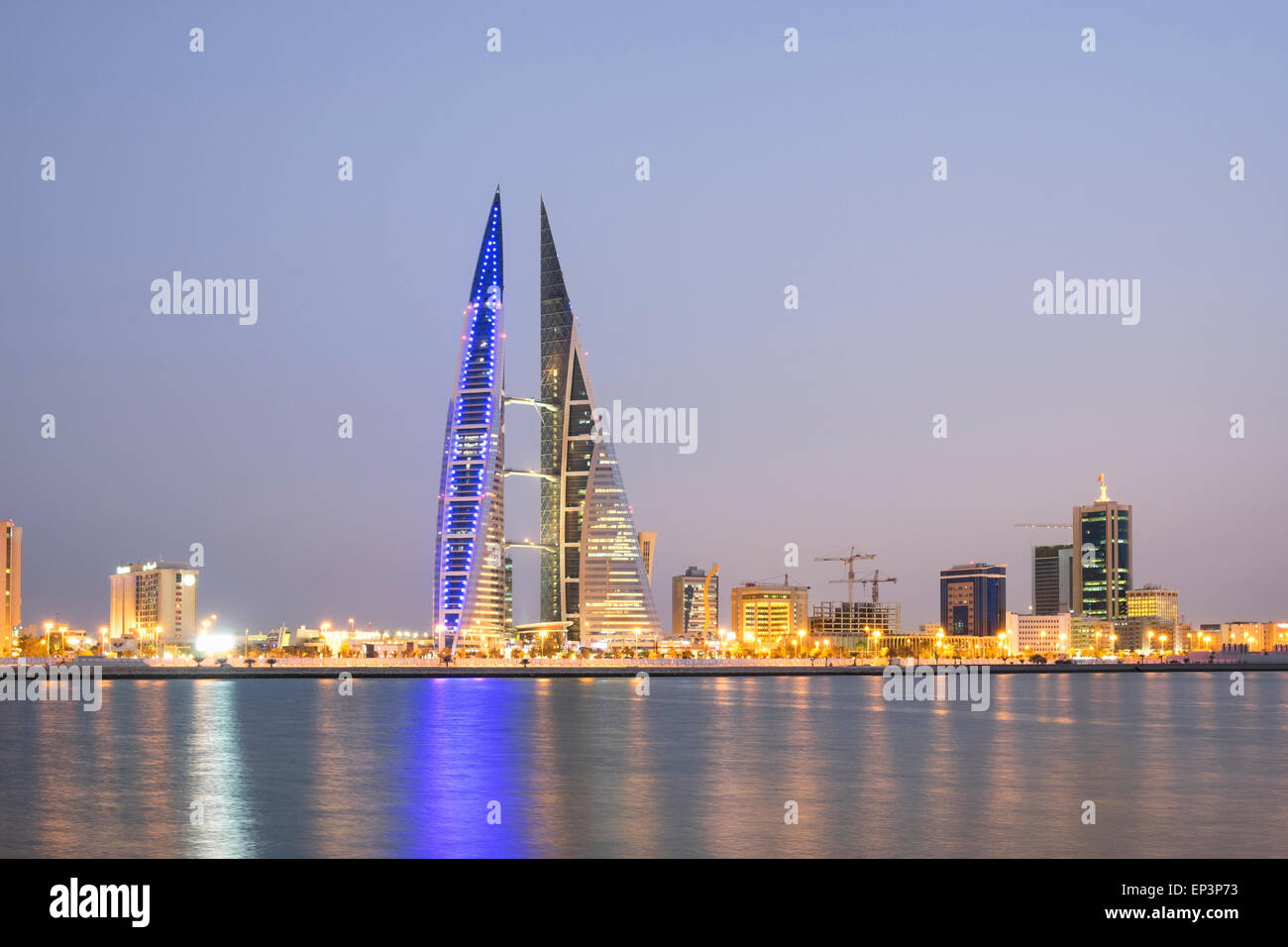 View of World Trade Center and skyline of Manama in Kingdom of Bahrain - Stock Image