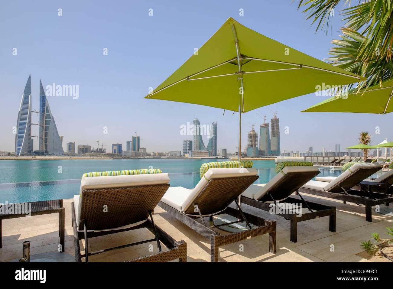 View of Bahrain skyline  from new Four Seasons Bahrain Bay luxury Hotel in Bahrain - Stock Image