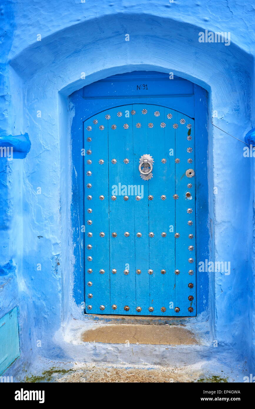 Chefchaouen (Chaouen) - walls of city buildings are painted blue color, Morocco - Stock Image