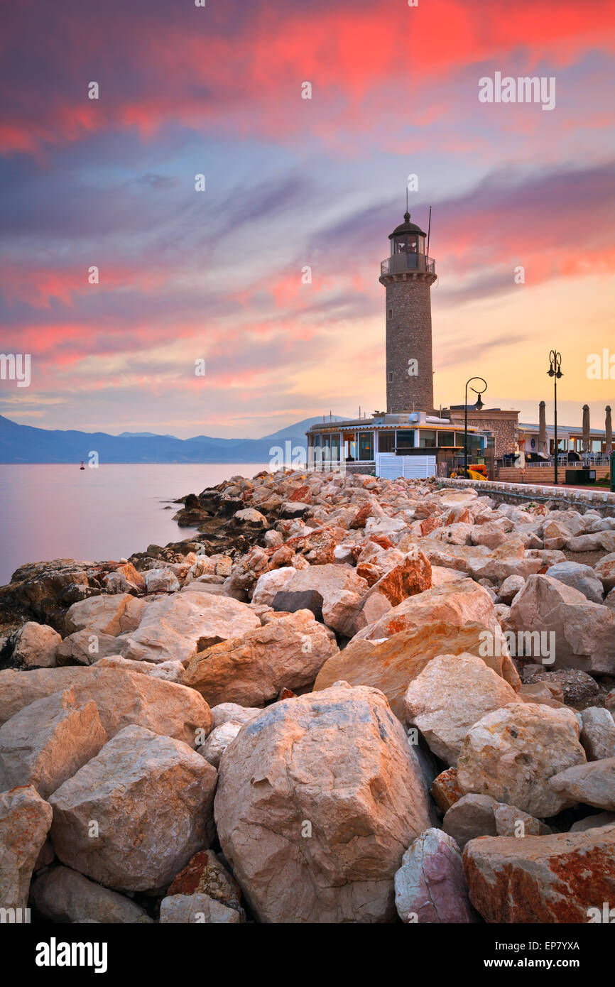 Lighthouse in Patras, Greece. - Stock Image