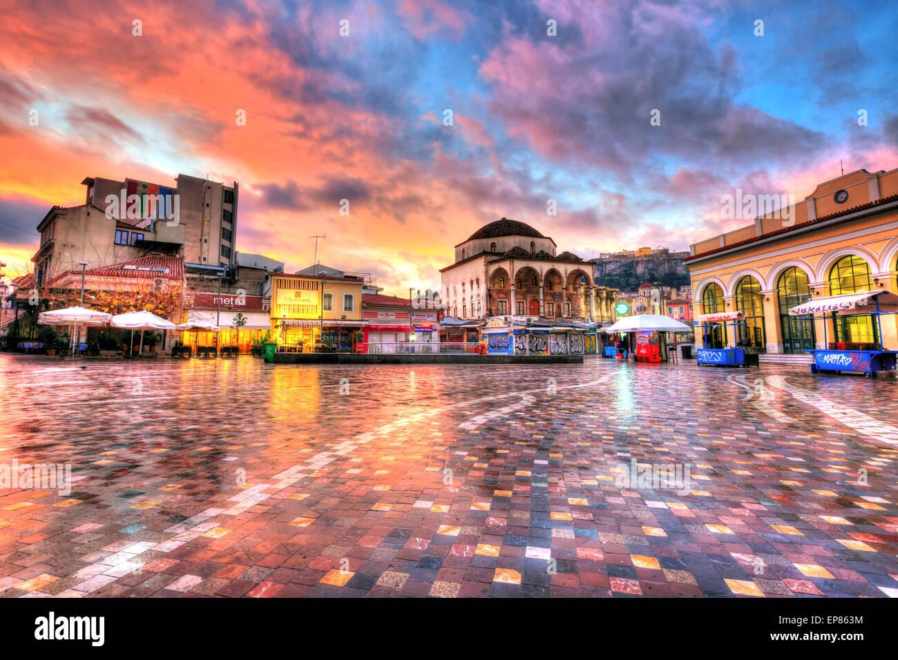 Monastiraki square early in the morning - Stock Image