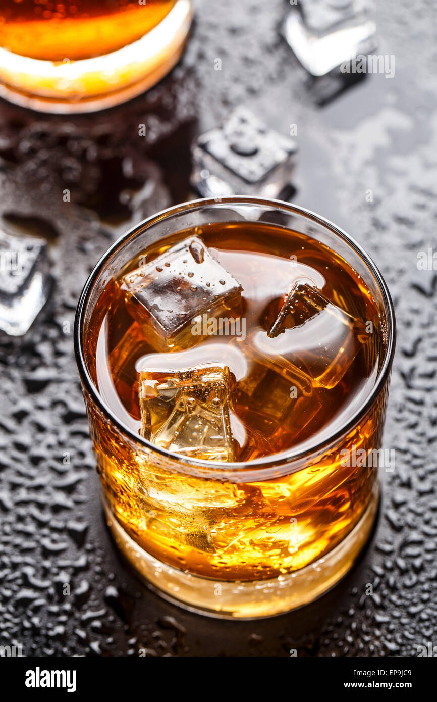 Alcoholic drink with ice in a glass - Stock Image