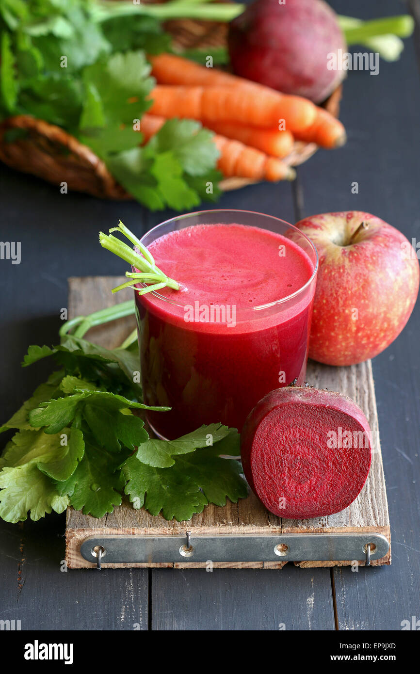 Beetroot juice with apple,carrot and celery - Stock Image