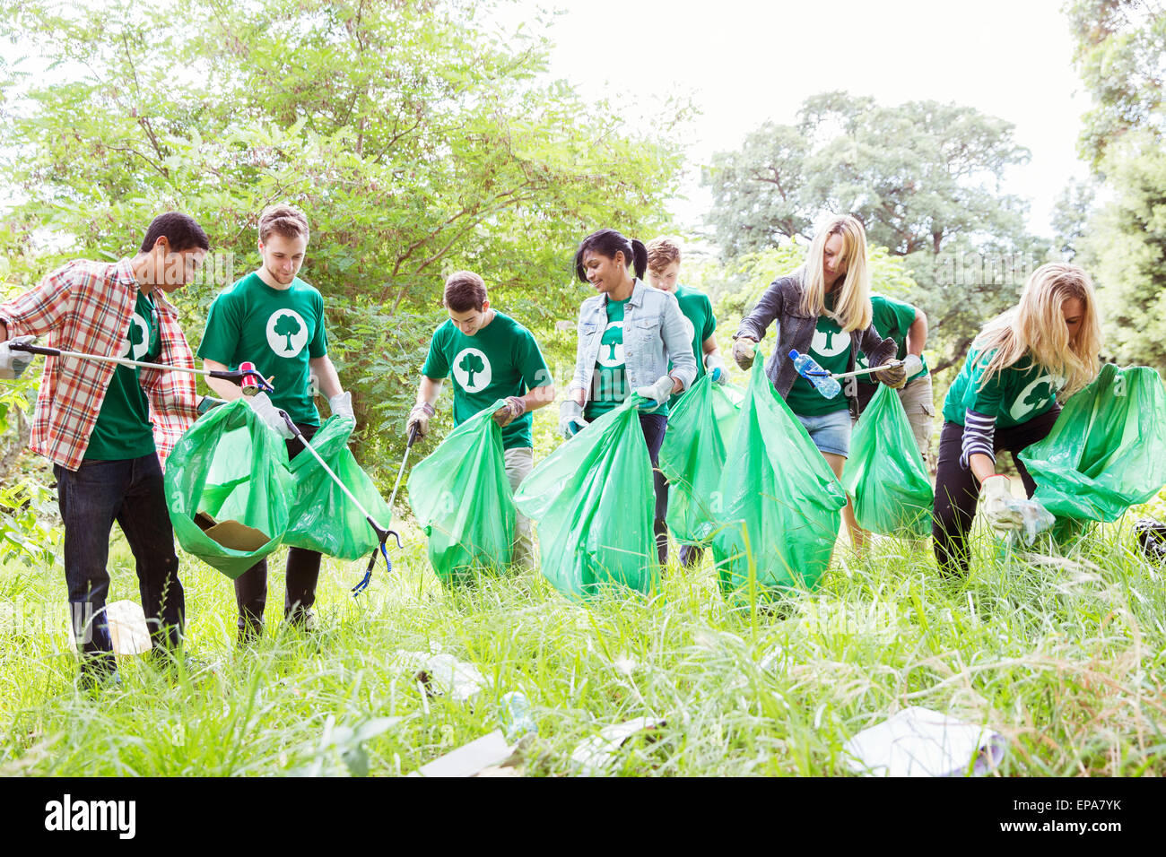Elementary S Picking Up Garbage In The Park Stock Image