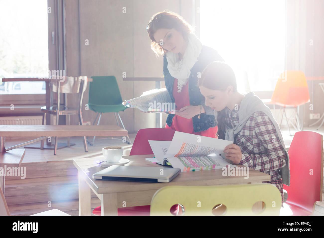 creative businesswoman document editing office - Stock Image