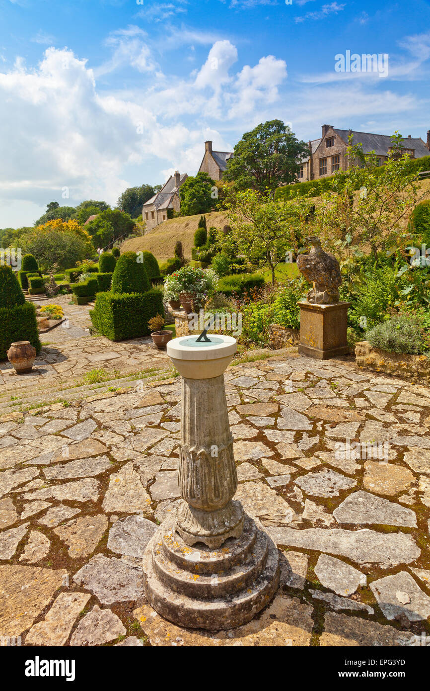 The sundial in the italianate garden at Mapperton House, nr Stock ...
