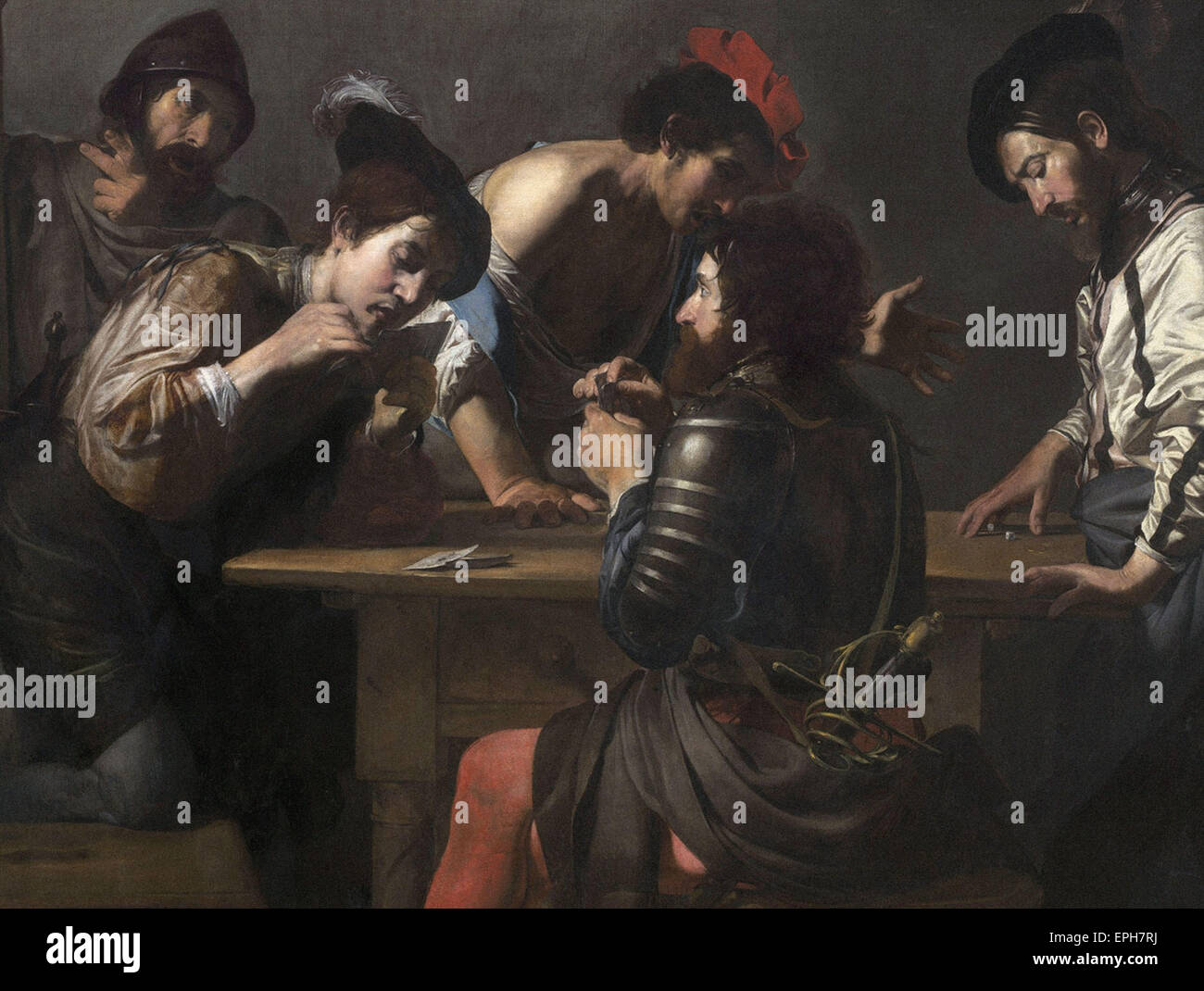Valentin de Boulogne  Soldiers Playing Cards and Dice (The Cheats) - Stock Image