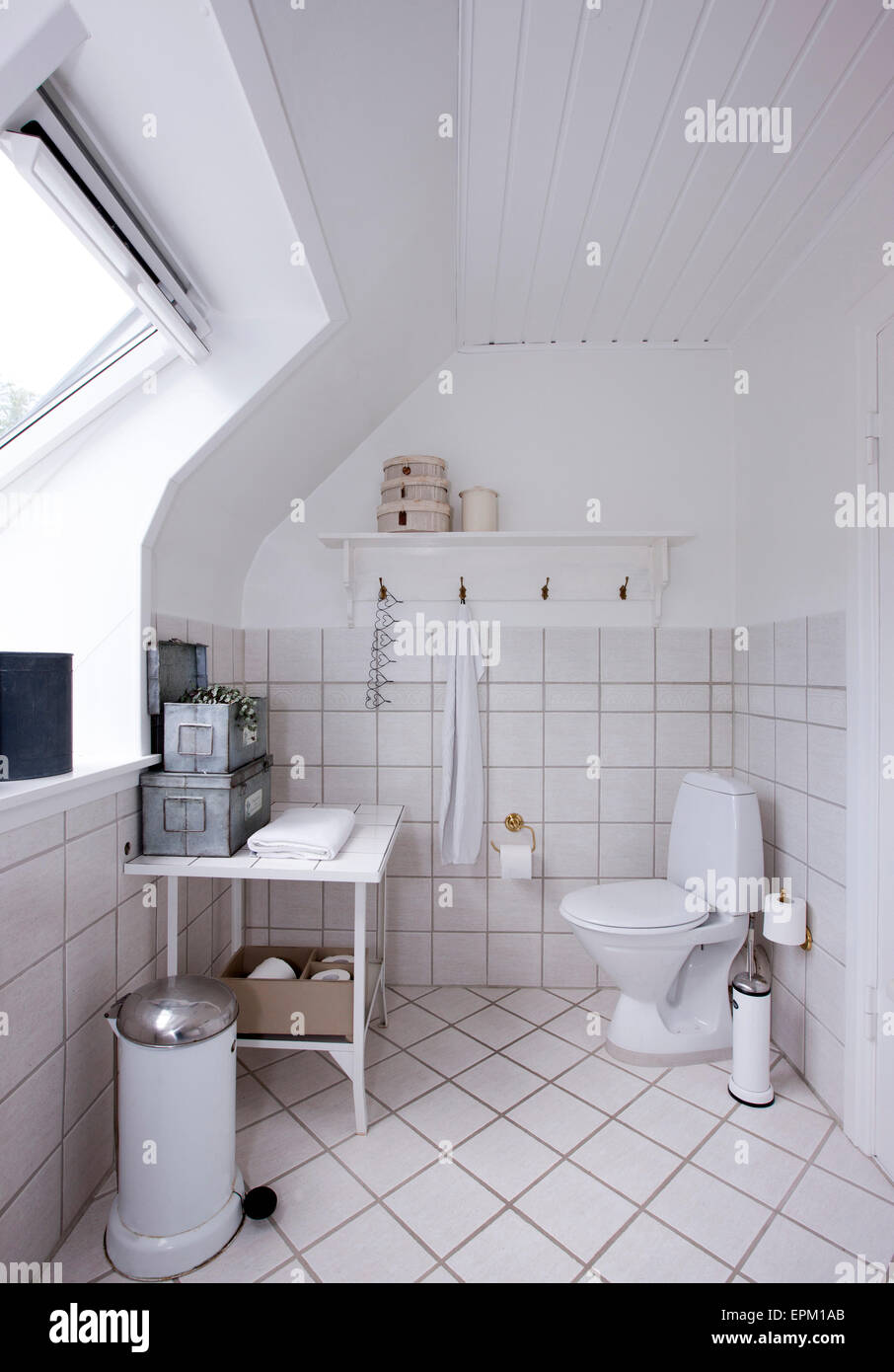 Tiled bathroom with dormer window in Hanne Davidsen home renovation ...