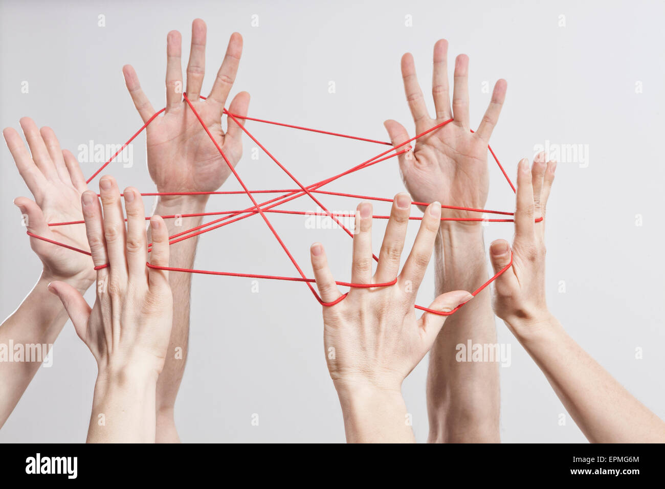 Connection, Team, Teamwork, Relationship, Hands, Cat's Cradle - Stock Image