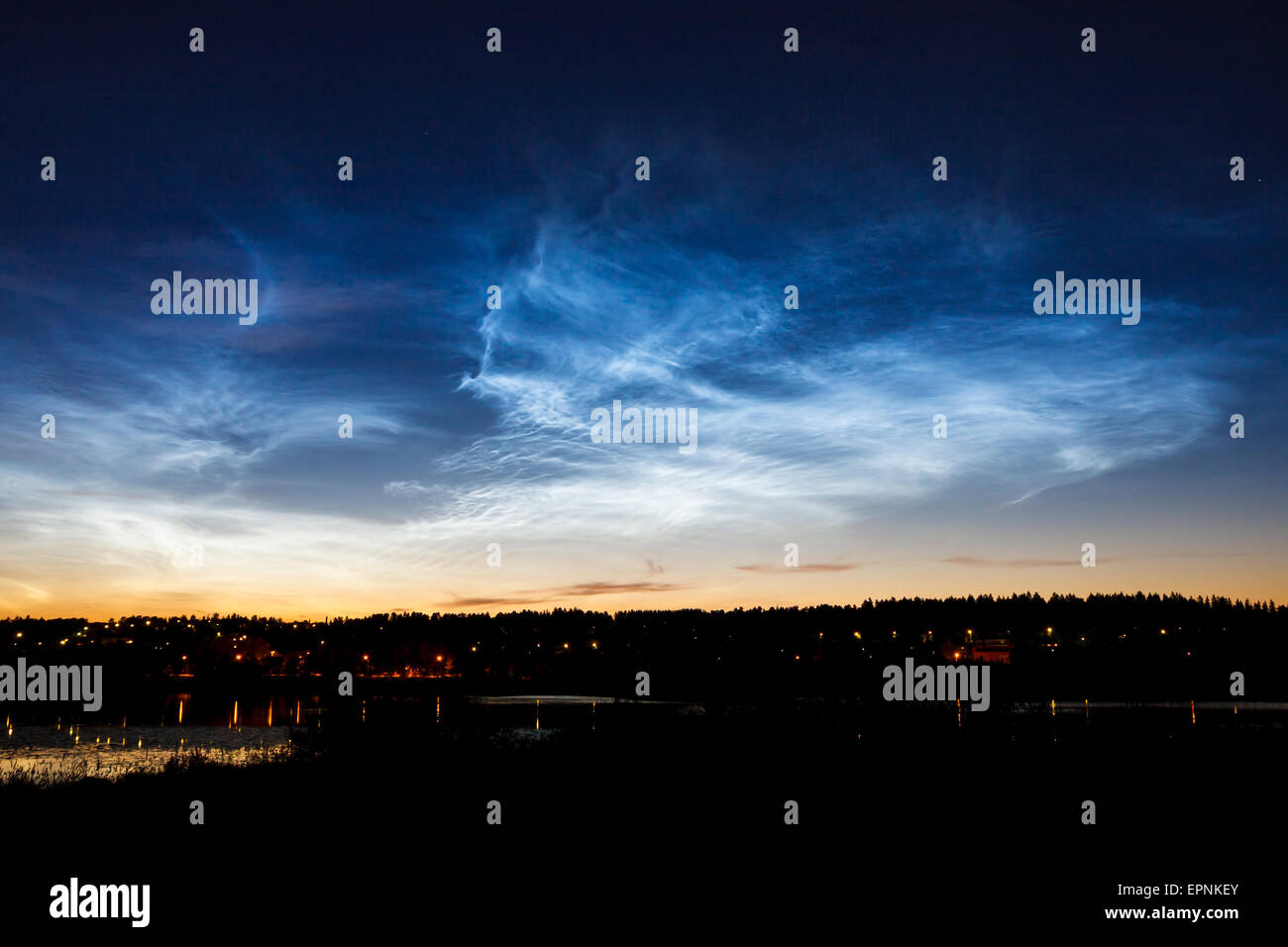 Beautiful sky phenomenon noctilucent clouds - Stock Image