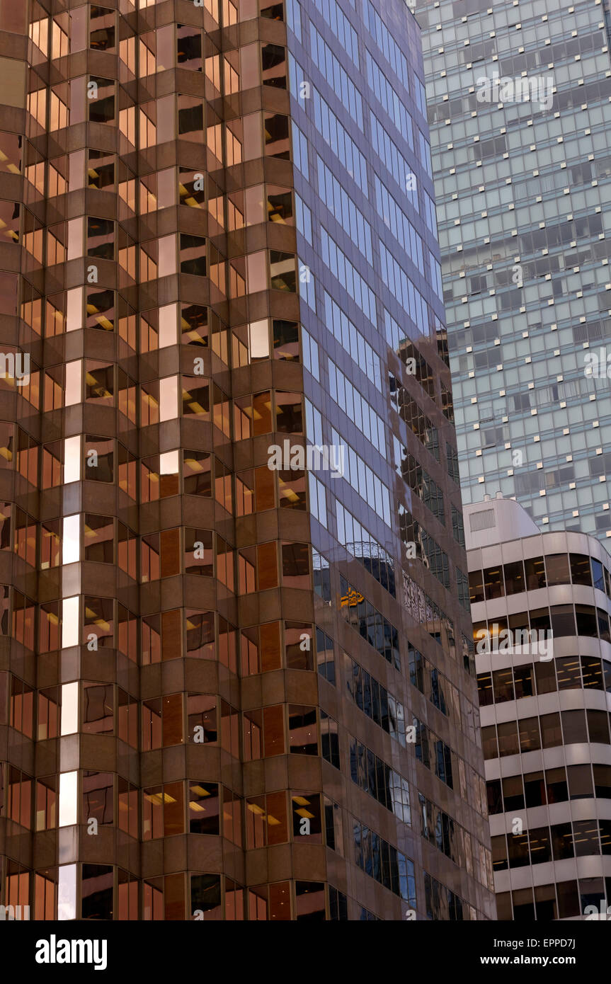 Glass facades of office towers in Vancouver, BC, Canada - Stock Image