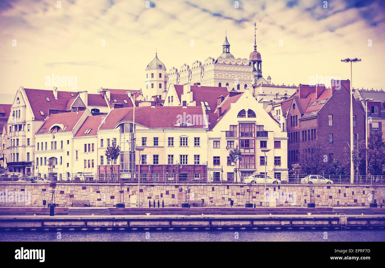 Vintage toned picture of Szczecin (Stettin) waterfront, Poland. - Stock Image
