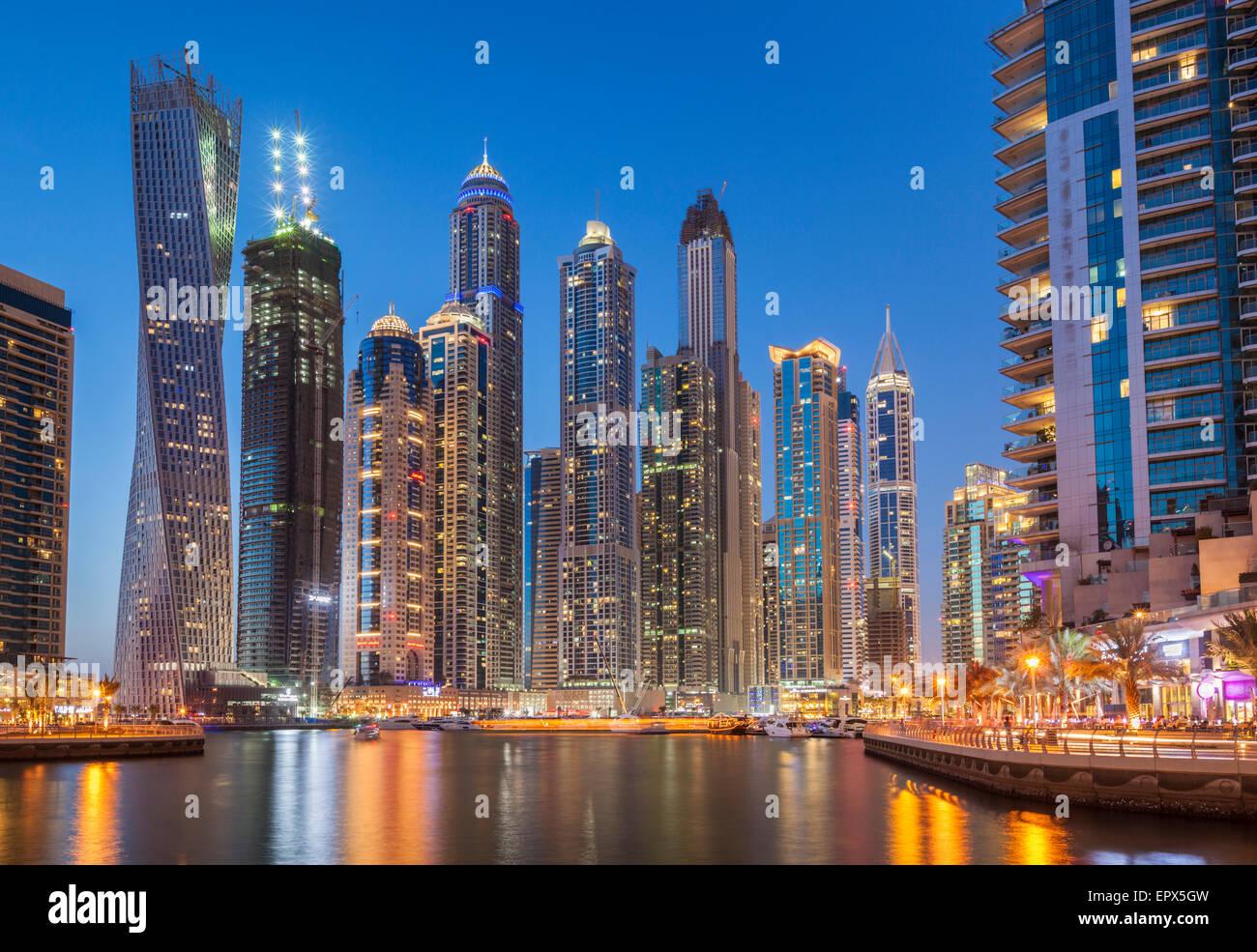 Dubai Marina Skyline at night Dubai City United Arab Emirates