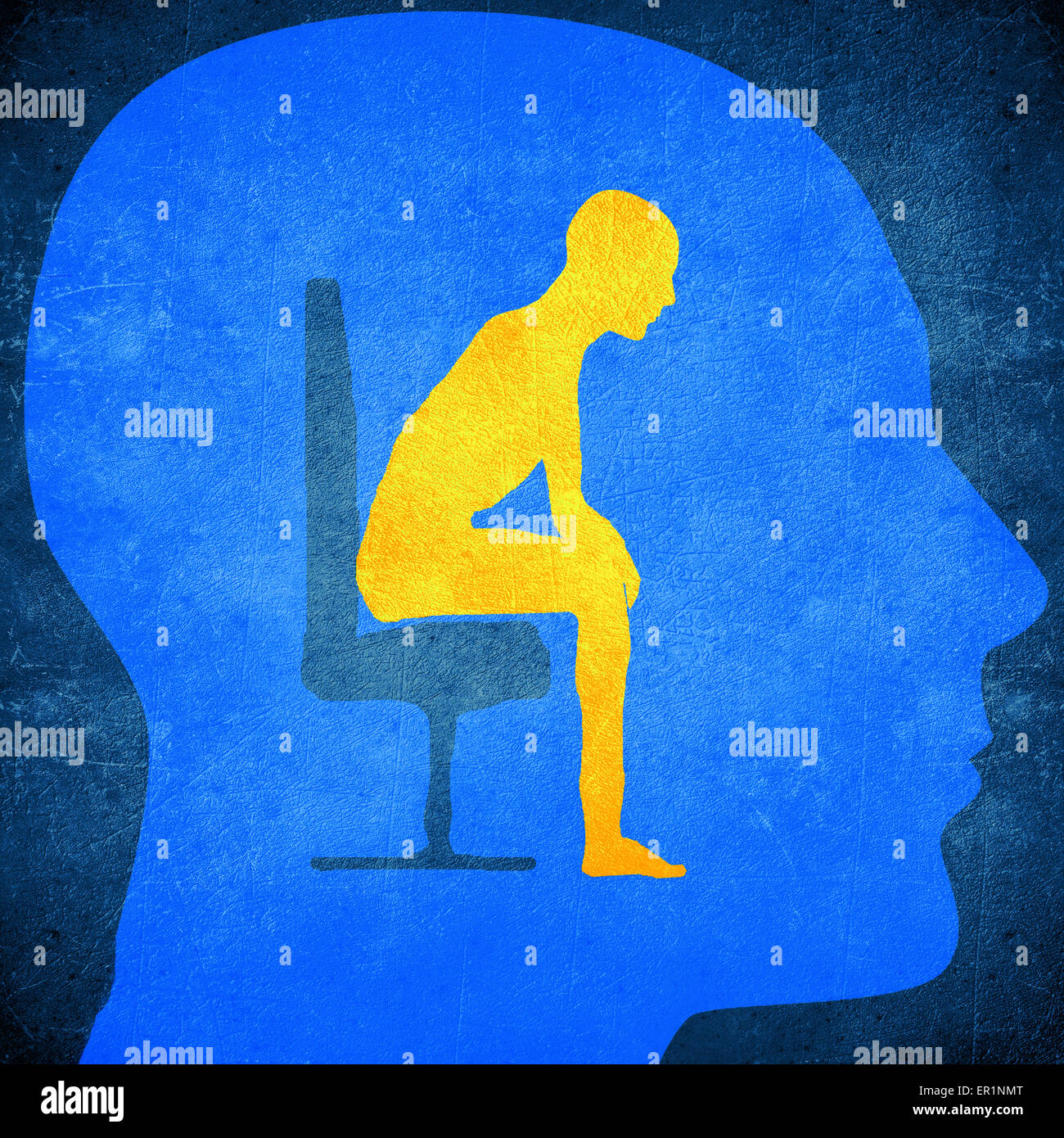 blue human head silhouette with a man sitting inside psychology concept - Stock Image