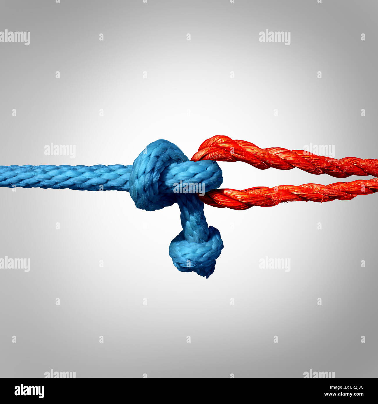 Connected concept as two different ropes tied and linked together as an unbreakable chain as a trust and faith metaphor - Stock Image