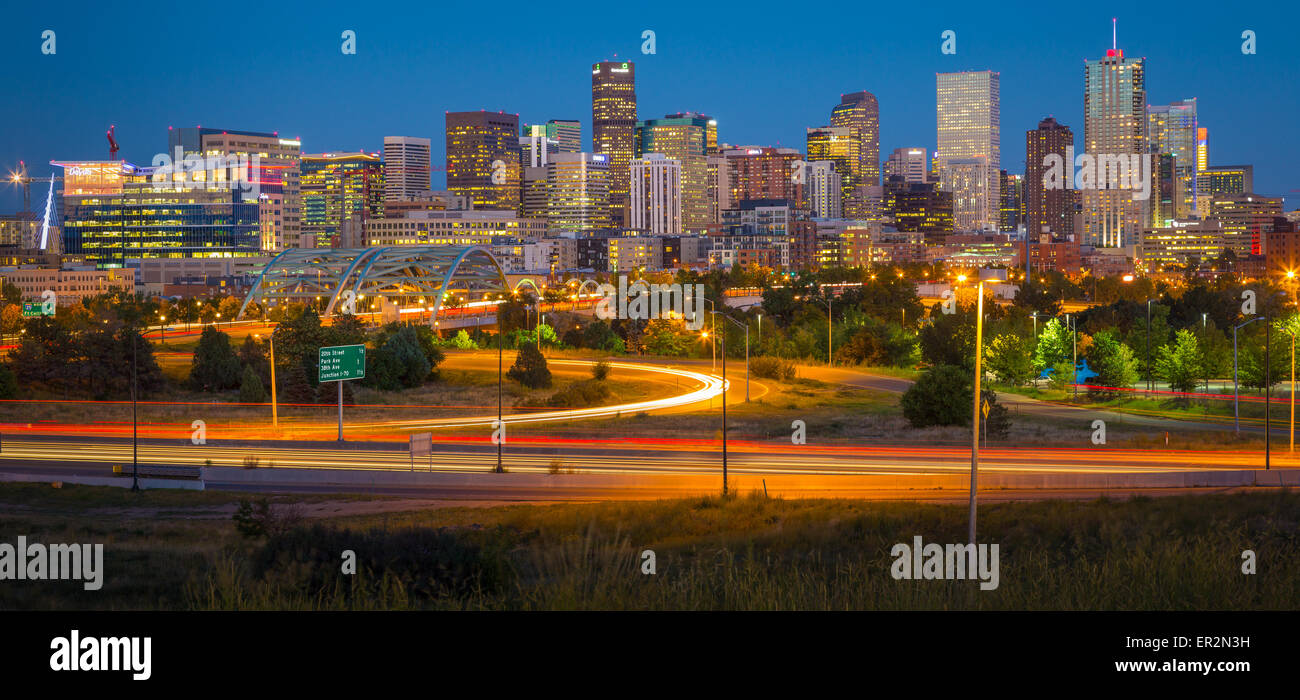 Denver skyline at night. Denver is the largest city and capital of the State of Colorado. - Stock Image